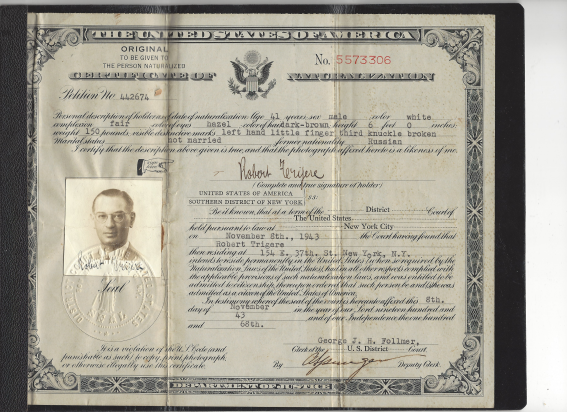 Sioma's naturalization papers to the United States, in 1943.